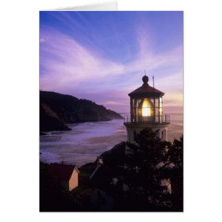 O, costa de Oregon, faro principal de Heceta, ence Tarjeta De Felicitación