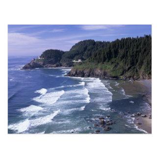O costa de Oregon faro principal de Heceta ence Tarjeta Postal
