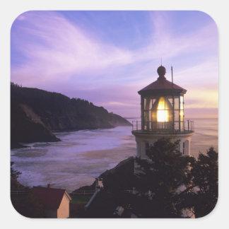 O, costa de Oregon, faro principal de Heceta, Pegatina Cuadrada