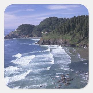 O, costa de Oregon, faro principal de Heceta, Pegatina Cuadradas Personalizadas
