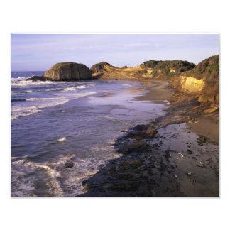 O, costa de Oregon, Newport, línea de la playa en  Fotografía