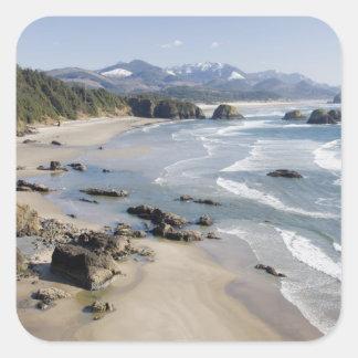 O, costa de Oregon, parque de estado de Ecola, Pegatina Cuadrada