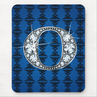 """O"" Diamond Bling on Damask Mousepad"