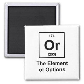 O, el elemento de opciones imán cuadrado