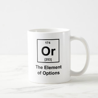 O, el elemento de opciones taza