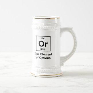 O el elemento de opciones taza de café