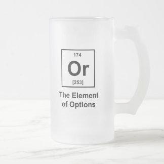 O, el elemento de opciones taza de cristal