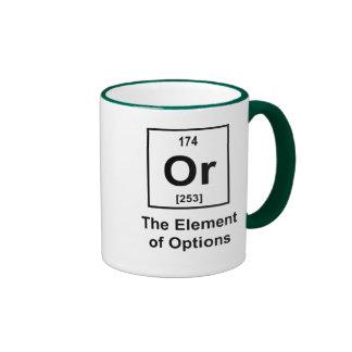 O, el elemento de opciones taza de dos colores