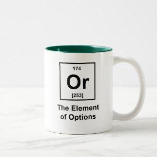 O, el elemento de opciones taza de dos tonos