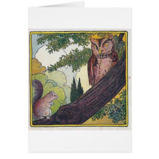 O es el búho viejo que se sienta en un árbol tarjeta de felicitación