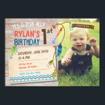 "O-Fish-ally Boys First Birthday Fishing Invitation<br><div class=""desc"">Is your little boy o-fish-ally turning one? This super cute and playful fishing theme invitation is the perfect invitation that has a space to place your adorable boy&#39;s photo. Customize with your info.</div>"