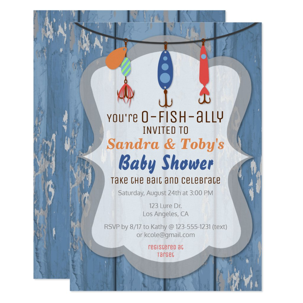 O-FISH-ALLY Fishing Baby Shower Invitation