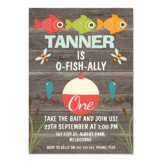 O-fish-ally One Fishing Birthday Invitation