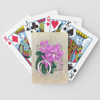 O for Orchid Flower Alphabet Monogram Bicycle Playing Cards