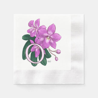 O for Orchid Flower Alphabet Monogram Coined Cocktail Napkin