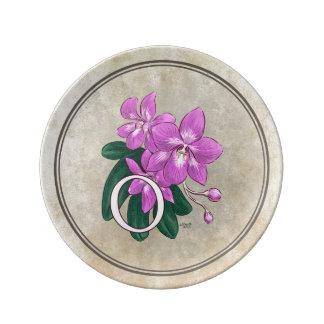 O for Orchid Flower Alphabet Monogram Dinner Plate