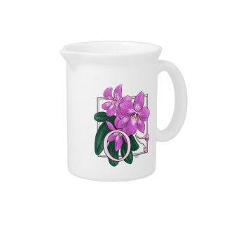 O for Orchid Flower Alphabet Monogram Pitcher
