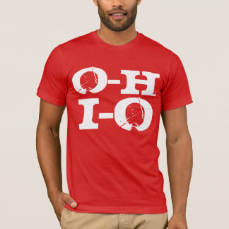 O-H I-O Ohio, Funny Cool Red and White Grunge T-Shirt