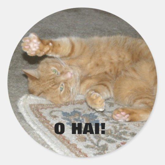O HAI! CLASSIC ROUND STICKER