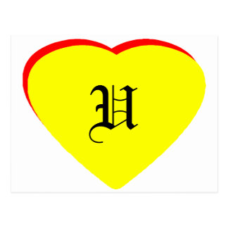 """""""O"""" Heart Yellow Red Wedding Invitation The MUSEUM Postcard"""