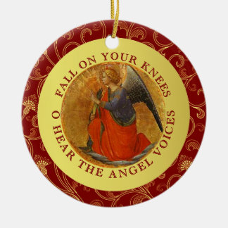 O Holy Night Christmas Carol Religious Music Double-Sided Ceramic Round Christmas Ornament