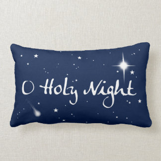O Holy Night Holiday Throw Pillow - Oblong - Blue
