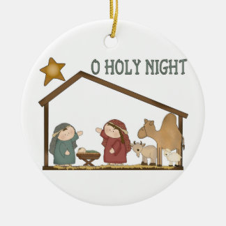 O Holy Night Double-Sided Ceramic Round Christmas Ornament