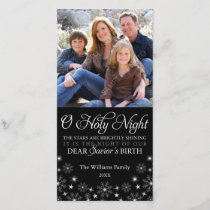 O Holy Night Religious Christmas Black Holiday Card