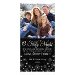 O Holy Night Religious Christmas Black Photo Card