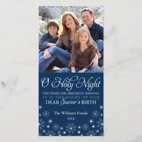 O Holy Night Religious Christmas Navy Blue Holiday Card