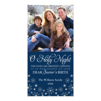 O Holy Night Religious Christmas Navy Blue Photo Card