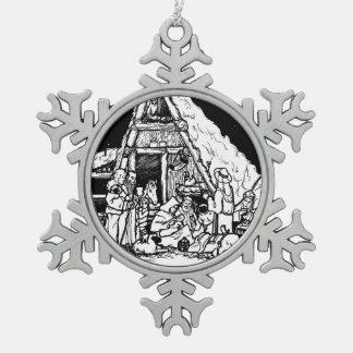 O Holy Night Snowflake Pewter Christmas Ornament