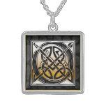 "O Initial Monogram ""Celtic Black Stone"" Necklaces"