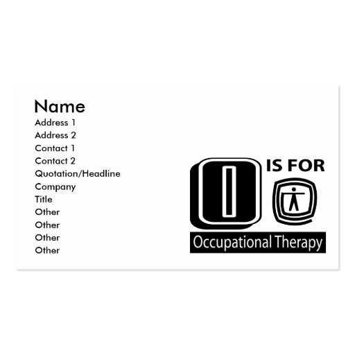 O Is For Occupational Therapy Business Cards