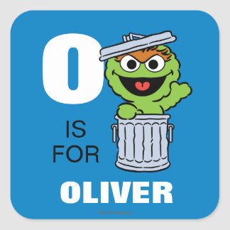 O is for Oscar the Grouch | Add Your Name Square Sticker