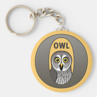 O is for Owl Basic Round Button Keychain