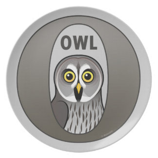 O is for Owl Melamine Plate
