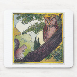 O is the old owl that sits in a tree mouse pad