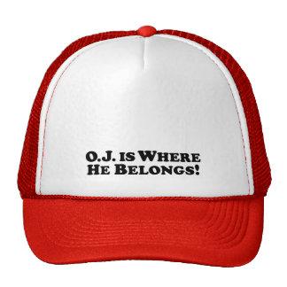 O J is Where he Belongs - Basic Trucker Hat