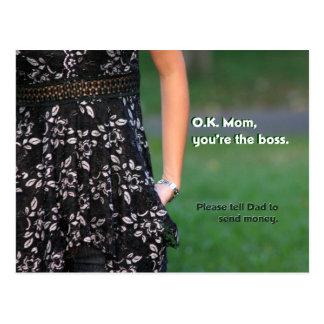 O.K. Mom You're the Boss Postcard