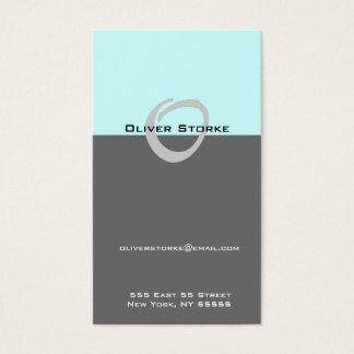 O Letter Alphabet Business Card Blue Grey