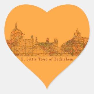 O Little Town of Bethlehem Heart Stickers