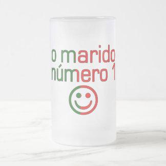 O Marido Número 1 - Number 1 Husband in Portuguese 16 Oz Frosted Glass Beer Mug