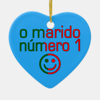O Marido Número 1 - Number 1 Husband in Portuguese Double-Sided Heart Ceramic Christmas Ornament