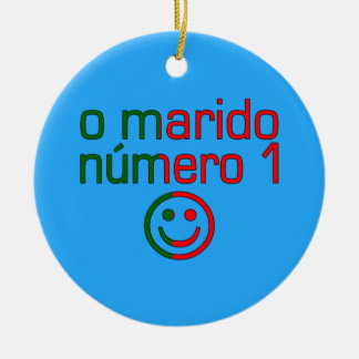 O Marido Número 1 - Number 1 Husband in Portuguese Double-Sided Ceramic Round Christmas Ornament