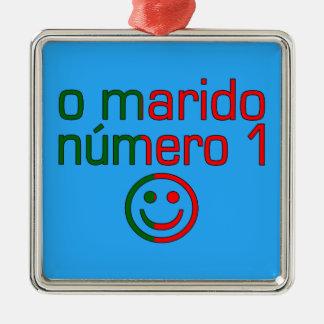 O Marido Número 1 - Number 1 Husband in Portuguese Square Metal Christmas Ornament