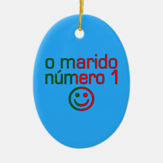 O Marido Número 1 - Number 1 Husband in Portuguese Double-Sided Oval Ceramic Christmas Ornament