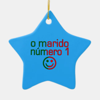 O Marido Número 1 - Number 1 Husband in Portuguese Double-Sided Star Ceramic Christmas Ornament