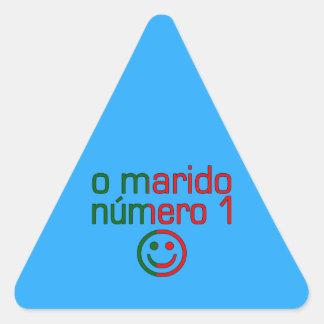 O Marido Número 1 - Number 1 Husband in Portuguese Triangle Sticker