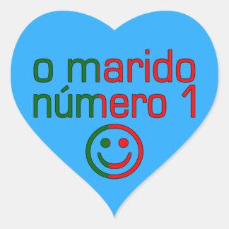 O Marido Número 1 - Number 1 Husband in Portuguese Heart Sticker